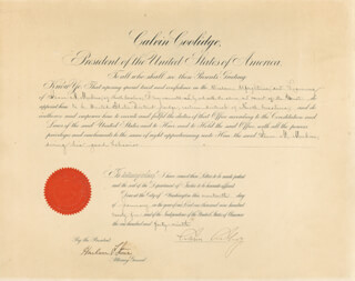 PRESIDENT CALVIN COOLIDGE - CIVIL APPOINTMENT SIGNED 01/17/1925 CO-SIGNED BY: CHIEF JUSTICE HARLAN F. STONE