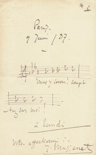 JULES MASSENET - MUSICAL QUOTATION SIGNED 06/09/1887
