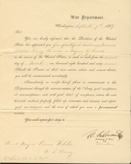 PRESIDENT ULYSSES S. GRANT - MILITARY APPOINTMENT SIGNED 09/07/1867