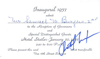 PRESIDENT RICHARD M. NIXON - INAUGURAL INVITATION SIGNED CIRCA 1957