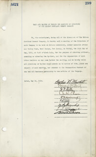 THOMAS A. EDISON - DOCUMENT SIGNED 05/16/1919 CO-SIGNED BY: GOVERNOR CHARLES EDISON, STEPHEN B. MAMBERT, HARRY F. MILLER, WILLIAM HENRY MEADOWCROFT, THERON I. CRANE, WILLIAM H. SHELMERDINE, F. B. IPTON, WILLARD PLACIDE REID