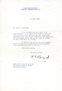 Autographs: REAR ADMIRAL RICHARD E. BYRD - TYPED LETTER SIGNED 04/11/1939