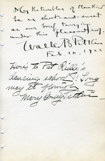 Autographs: WALTER B. PITKIN - AUTOGRAPH QUOTATION SIGNED 02/10/1922 CO-SIGNED BY: MARY GRAY PITKIN