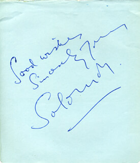 SOLOMON - AUTOGRAPH SENTIMENT SIGNED