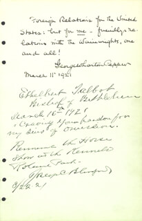 Autographs: GEORGE WHARTON PEPPER - SIGNATURE(S) 03/11/1921 CO-SIGNED BY: BISHOP ETHELBERT TALBOT