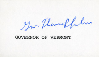 GOVERNOR THOMAS P. SALMON - PRINTED CARD SIGNED IN INK
