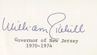 GOVERNOR WILLIAM T. CAHILL - PRINTED CARD SIGNED IN INK