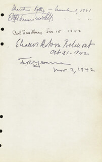 Autographs: CARL SANDBURG - SIGNATURE(S) 01/15/1942 CO-SIGNED BY: ELEANOR ROBSON BELMONT, KATHERINE GARRISON CHAPIN, MARTHA KELLER
