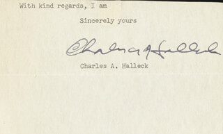 CHARLES A. HALLECK - TYPED SENTIMENT SIGNED