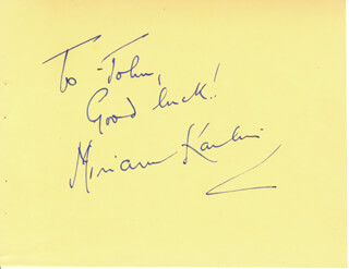 MIRIAM KARLIN - AUTOGRAPH NOTE SIGNED