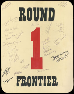 Autographs: TONY ZALE - POSTER SIGNED CO-SIGNED BY: JOEY MAXIM, SONNY KING, BILLY (THE UNCROWNED CHAMPION) GRAHAM, TONY DE MARCO, PAT COOPER, ART GOLDEN BOY ARAGON, SIG SAKOWICZ, MIKE DEJOHN, JOHN LEEMAN, GEORGIE ABRAMS, DAVEY PEARL, GEORGE PACE, JOEY (GEORGE WILLIAM) CURTIS, THERESA MILLER, JACKIE FIELDS, DANA HANSON, ROCKY BARONOSKY, RICHARD GREENE, JR., ED BROWN, AL SICILIANO, SONY REVELL