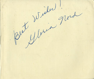 GLORIA NORD - AUTOGRAPH SENTIMENT SIGNED