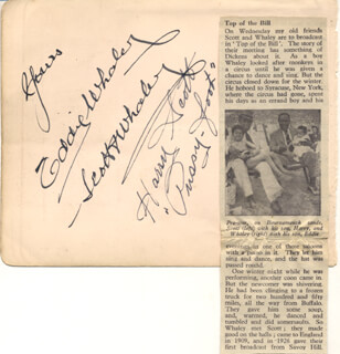 SCOTT & WHALEY - AUTOGRAPH CO-SIGNED BY: SCOTT & WHALEY (HARRY PUSSY-FOOT SCOTT), SCOTT & WHALEY (EDDIE WHALEY)