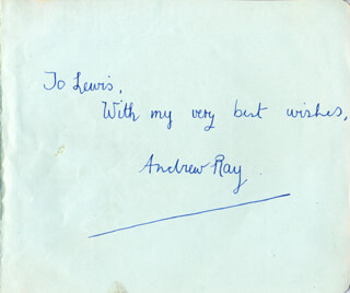 ANDREW RAY - AUTOGRAPH NOTE SIGNED