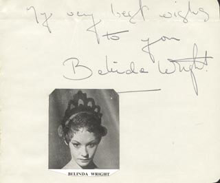 BELINDA WRIGHT - AUTOGRAPH SENTIMENT SIGNED