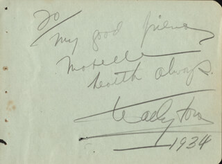 WALLACE WALLY FORD - AUTOGRAPH NOTE SIGNED 1934