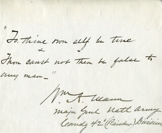 Autographs: MAJOR GENERAL WILLIAM A. MANN - AUTOGRAPH QUOTATION SIGNED