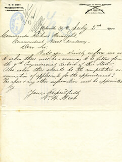WILLIAM W. WEST - AUTOGRAPH LETTER SIGNED 07/02/1900