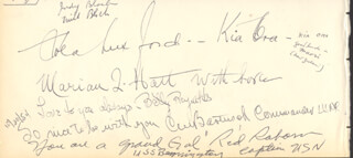 Autographs: VICE ADMIRAL WILLIAM F. RED RABORN JR. - AUTOGRAPH SENTIMENT SIGNED CO-SIGNED BY: JO COPELAND