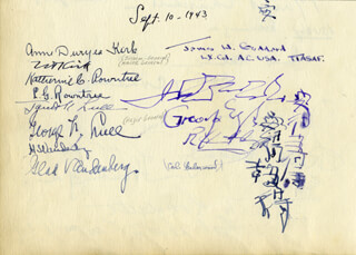 GENERAL HOYT S. VANDENBERG - AUTOGRAPH 09/10/1943 CO-SIGNED BY: GENERAL GEORGE F. LULL, MARY (BARONESS SOAMES) CHURCHILL, ANNE DURYEA KIRK, KATHERINE ROWNTREE, JANET K. LULL, GLAD VANDENBERG, RUTH ROOSEVELT, MAJOR GENERAL NORMAN T. KIRK, COLONEL LEONARD G. ROWNTREE