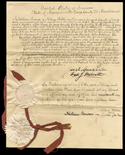JOSEPH MANSFIELD - DOCUMENT SIGNED 04/19/1839 CO-SIGNED BY: NATHAN BOWEN, HALL J. MERRETT