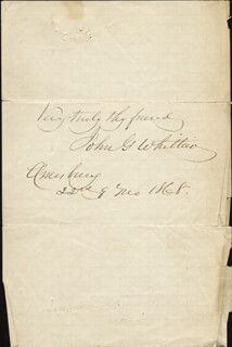 JOHN GREENLEAF WHITTIER - AUTOGRAPH SENTIMENT SIGNED 09/22/1868