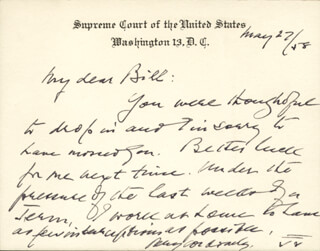 Autographs: ASSOCIATE JUSTICE FELIX FRANKFURTER - AUTOGRAPH NOTE ON SUPREME COURT CARD SIGNED 05/27/1958