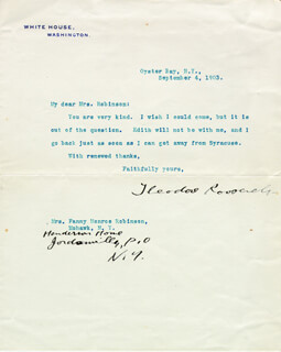 PRESIDENT THEODORE ROOSEVELT - TYPED LETTER SIGNED 09/04/1903