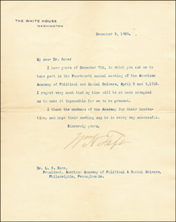 PRESIDENT WILLIAM H. TAFT - TYPED LETTER SIGNED 12/09/1909