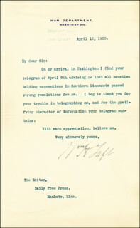 PRESIDENT WILLIAM H. TAFT - TYPED LETTER SIGNED 04/12/1908