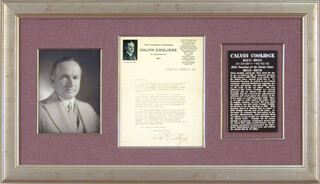 PRESIDENT CALVIN COOLIDGE - TYPED LETTER SIGNED CIRCA 1917