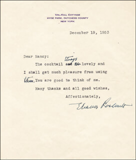 FIRST LADY ELEANOR ROOSEVELT - TYPED LETTER SIGNED 12/19/1953