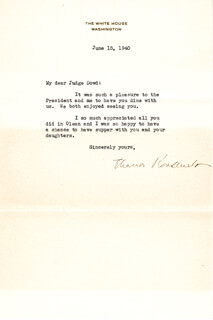 FIRST LADY ELEANOR ROOSEVELT - TYPED LETTER SIGNED 06/15/1940
