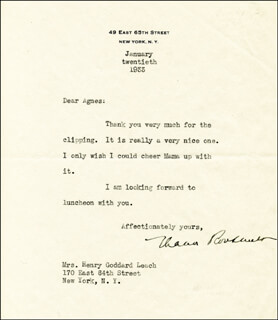 Autographs: FIRST LADY ELEANOR ROOSEVELT - TYPED LETTER SIGNED 01/20/1933