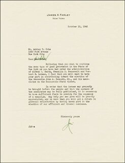 JAMES A. FARLEY - TYPED LETTER SIGNED 10/13/1942