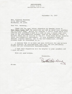 BUDD SCHULBERG - TYPED LETTER SIGNED 09/14/1987