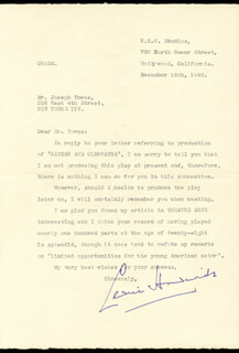 SIR CEDRIC HARDWICKE - TYPED LETTER SIGNED 12/16/1940
