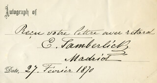 ENRICO TAMBERLICK - AUTOGRAPH STATEMENT SIGNED 02/27/1870