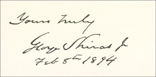 Autographs: ASSOCIATE JUSTICE GEORGE SHIRAS JR. - CALLING CARD SIGNED 02/08/1894