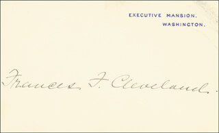 FIRST LADY FRANCES F. CLEVELAND - WHITE HOUSE CARD SIGNED