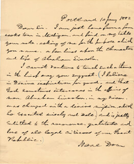 BRIGADIER GENERAL NEAL DOW - AUTOGRAPH LETTER SIGNED 01/10/1882