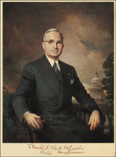 Autographs: PRESIDENT HARRY S TRUMAN - INSCRIBED PRINTED ART SIGNED IN INK 05/12/1966