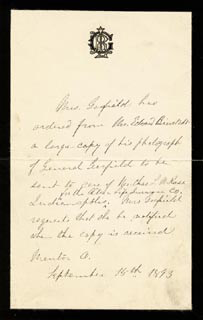 FIRST LADY LUCRETIA R. GARFIELD - THIRD PERSON AUTOGRAPH LETTER 09/15/1893
