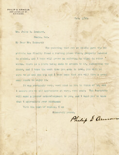 Autographs: PHILIP D. THE PORK BARON ARMOUR - TYPED LETTER SIGNED 10/01/1897