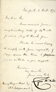 CYRUS W. FIELD - MANUSCRIPT LETTER SIGNED 10/02/1871