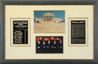 THE WARREN E. BURGER COURT - AUTOGRAPHED SIGNED PHOTOGRAPH CO-SIGNED BY: ASSOCIATE JUSTICE BYRON R. WHITE, CHIEF JUSTICE WARREN E. BURGER, ASSOCIATE JUSTICE LEWIS F. POWELL JR., CHIEF JUSTICE EARL WARREN, ASSOCIATE JUSTICE POTTER STEWART, ASSOCIATE JUSTICE THURGOOD MARSHALL, CHIEF JUSTICE WILLIAM H. REHNQUIST, ASSOCIATE JUSTICE HARRY A. BLACKMUN, ASSOCIATE JUSTICE JOHN PAUL STEVENS