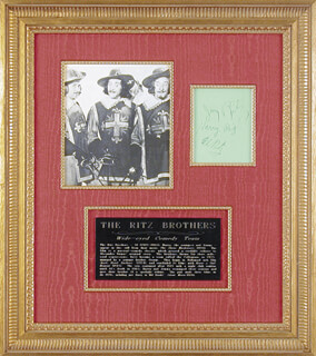 THE RITZ BROTHERS - AUTOGRAPH CO-SIGNED BY: THE RITZ BROTHERS (JIMMY RITZ), THE RITZ BROTHERS (AL RITZ), THE RITZ BROTHERS (HARRY RITZ)