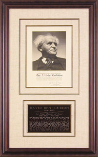 PRIME MINISTER DAVID BEN-GURION (ISRAEL) - AUTOGRAPHED SIGNED PHOTOGRAPH CIRCA 1961