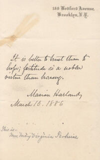 MARION VIRGINIA (MARION HARLAND) TEHUNE - AUTOGRAPH QUOTATION SIGNED 03/10/1886
