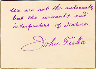 Autographs: JOHN FISKE - AUTOGRAPH QUOTATION SIGNED